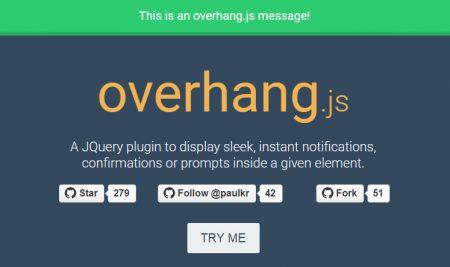 Overhang.js – یک افزونه jQuery برای نوتیفیکیشن Dropdown