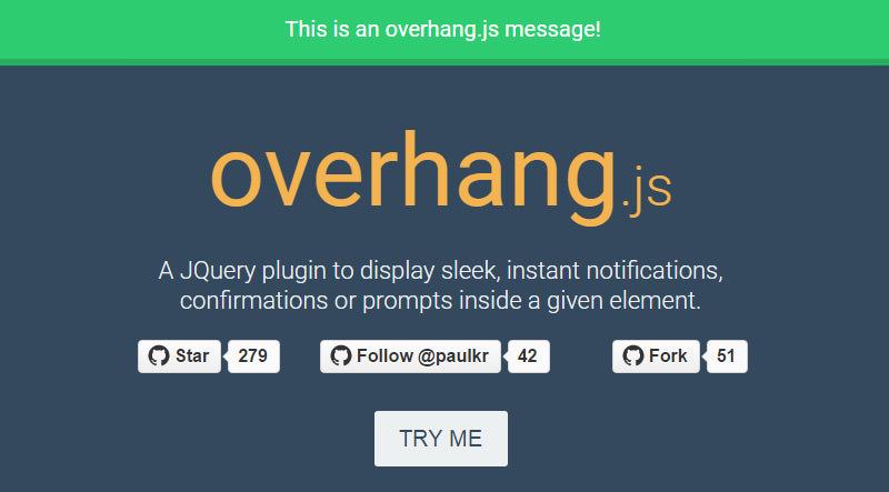 Overhang.js - یک افزونه jQuery برای نوتیفیکیشن Dropdown